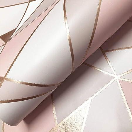 Trance G/éom/étrique Papier Peint Blush//Or Rose Fine Decor M1431