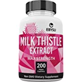 EBYSU Milk Thistle Extract - 200 Day Supply 1000mg Max Strength Seed Extract with Silymarin. Liver Cleanse Detox Supplement, Helps Boost Immune System & Supports Weight Loss. Non-GMO Capsules