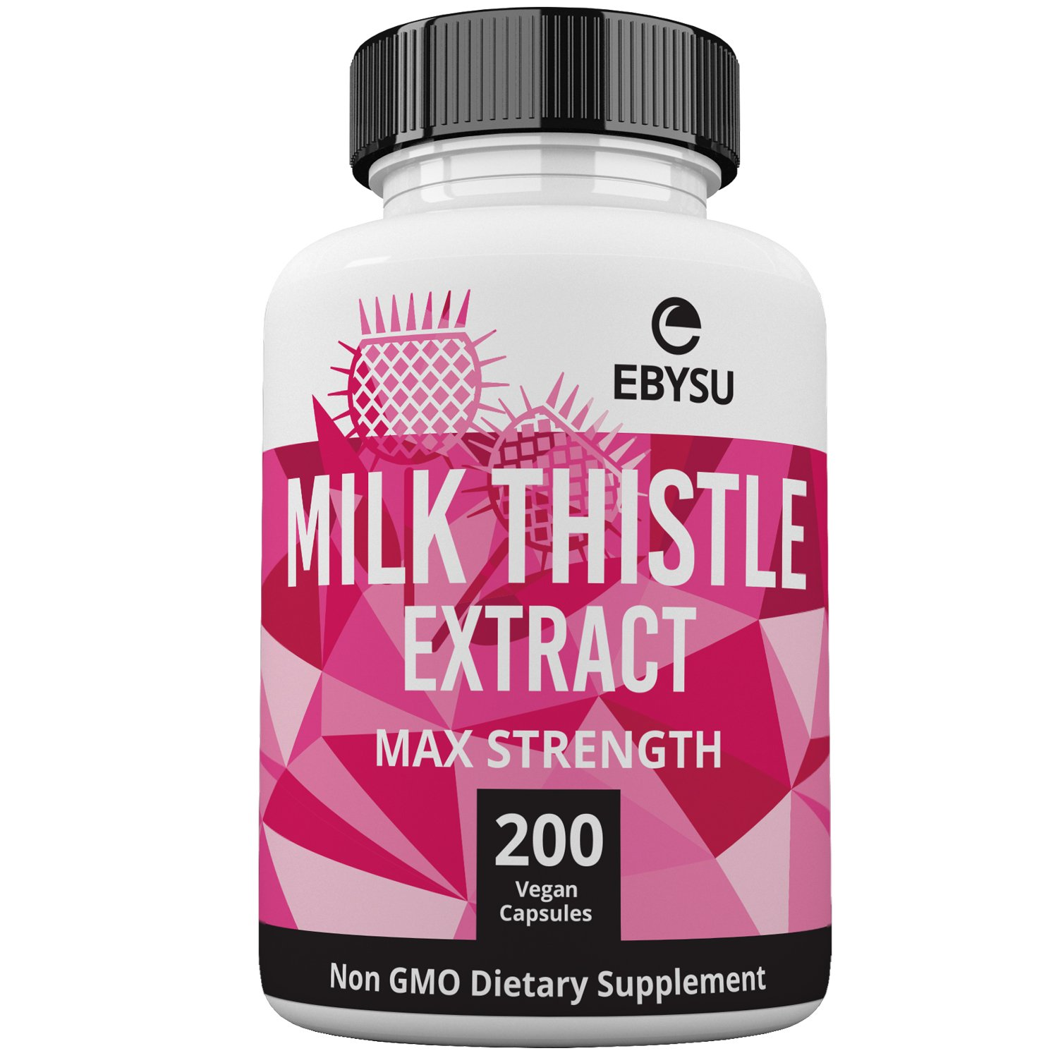 EBYSU Milk Thistle - 200 Day Supply - 1000mg Max Strength 4X Concentrated Extract 4:1 - Vegan Capsules