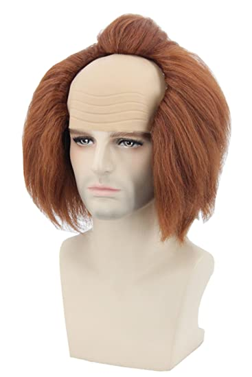 topcosplay halloween costume wigs brown bald head wig adult