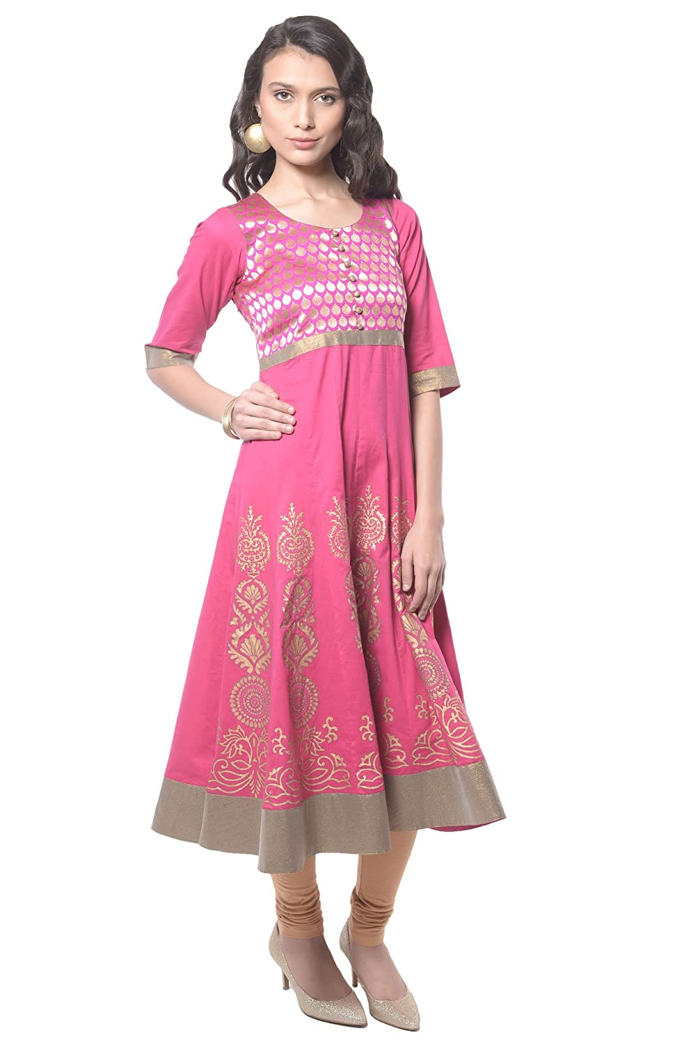 e6842c8a1 MBE Women s Cotton Kurti (B337 Hot Pink 40)  Amazon.in  Clothing    Accessories