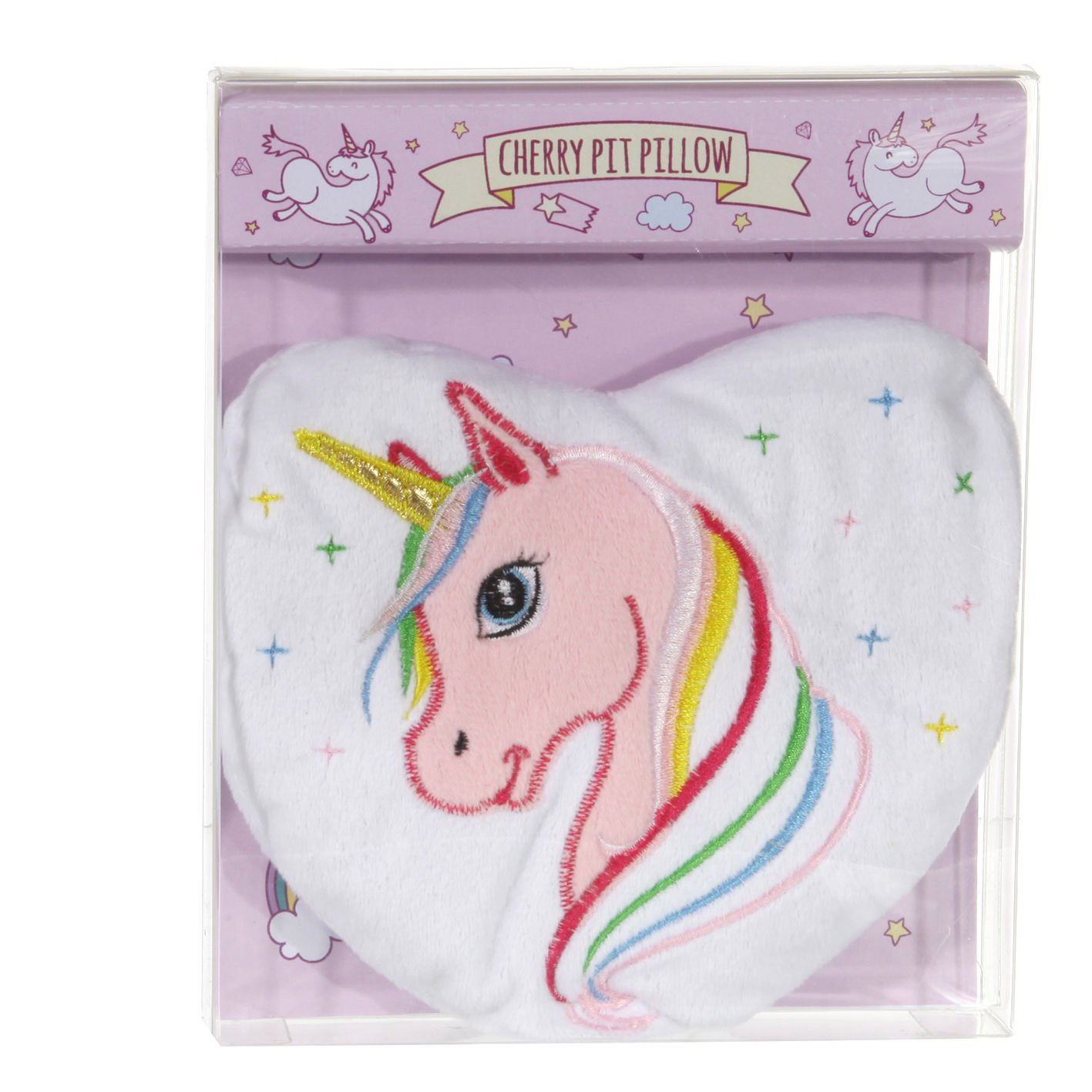 Rainbow Unicorn Fleece Heart Unscented Cherrystone Heat Pack Cepewa