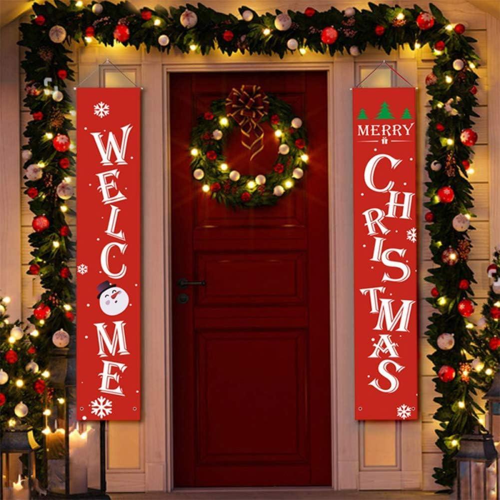 Banni/ère de no/ël Signe de porche de No/ël Bienvenue et joyeux No/ël suspendus Signe joyeux lumineux banni/ère de No/ël Nouvel an flocon de neige rouge No/ël fen/être d/écor pour la maison de vacances