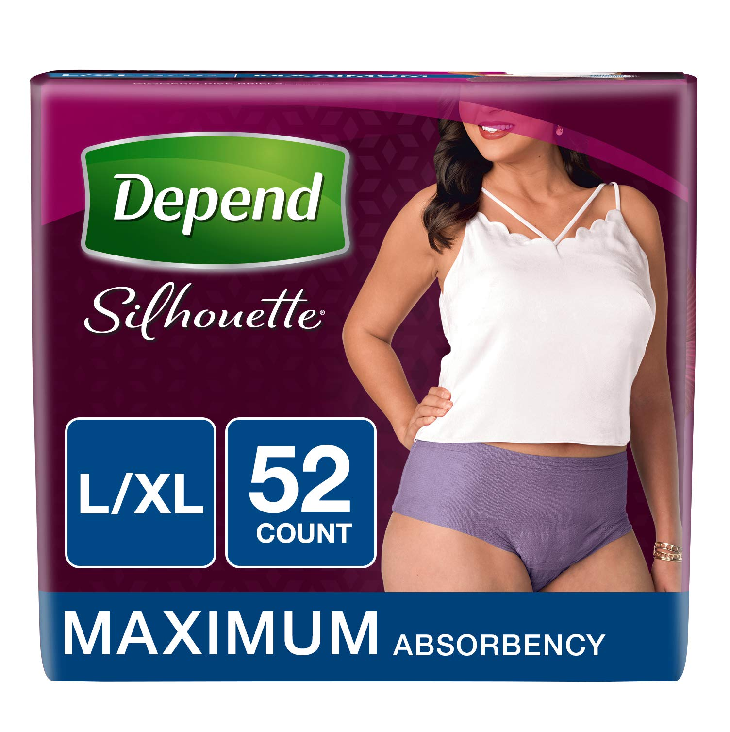 Depend Silhouette Incontinence Underwear for Women, Maximum Absorbency, L/XL, Purple, 52 Count by Depend