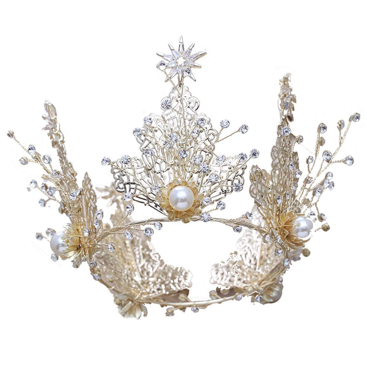 Girls Crown, Beautiful headdress/Retro Queen'S Golden Crown Bridal Crown Luxurious Air Court Accessories Wedding Accessories.