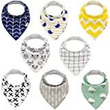Alva Baby Stylish Unisex Baby Bandana Drool Bibs for Boys and Girls 8 Pack of Super Absorbent Baby Gift Settings