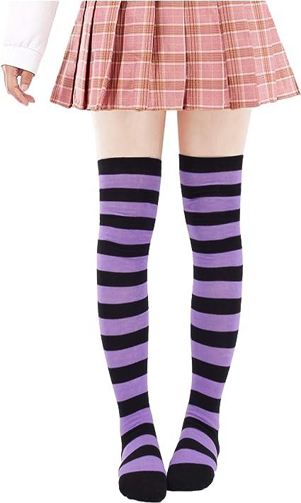 TWO Pair womens cotton blend over the knee thigh socks  purple black blue stripe