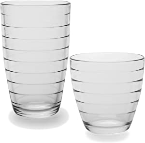 Circleware (44533) Huge Set of 12 Drinking Glasses, 6-16oz and 6-13oz Double Old Fashioned Whiskey Glass