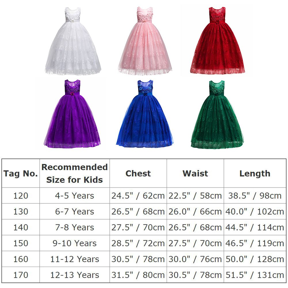 IBTOM CASTLE Girls Tulle Dress Flower Wedding Lace Pageant Dance Evening Maxi Gowns