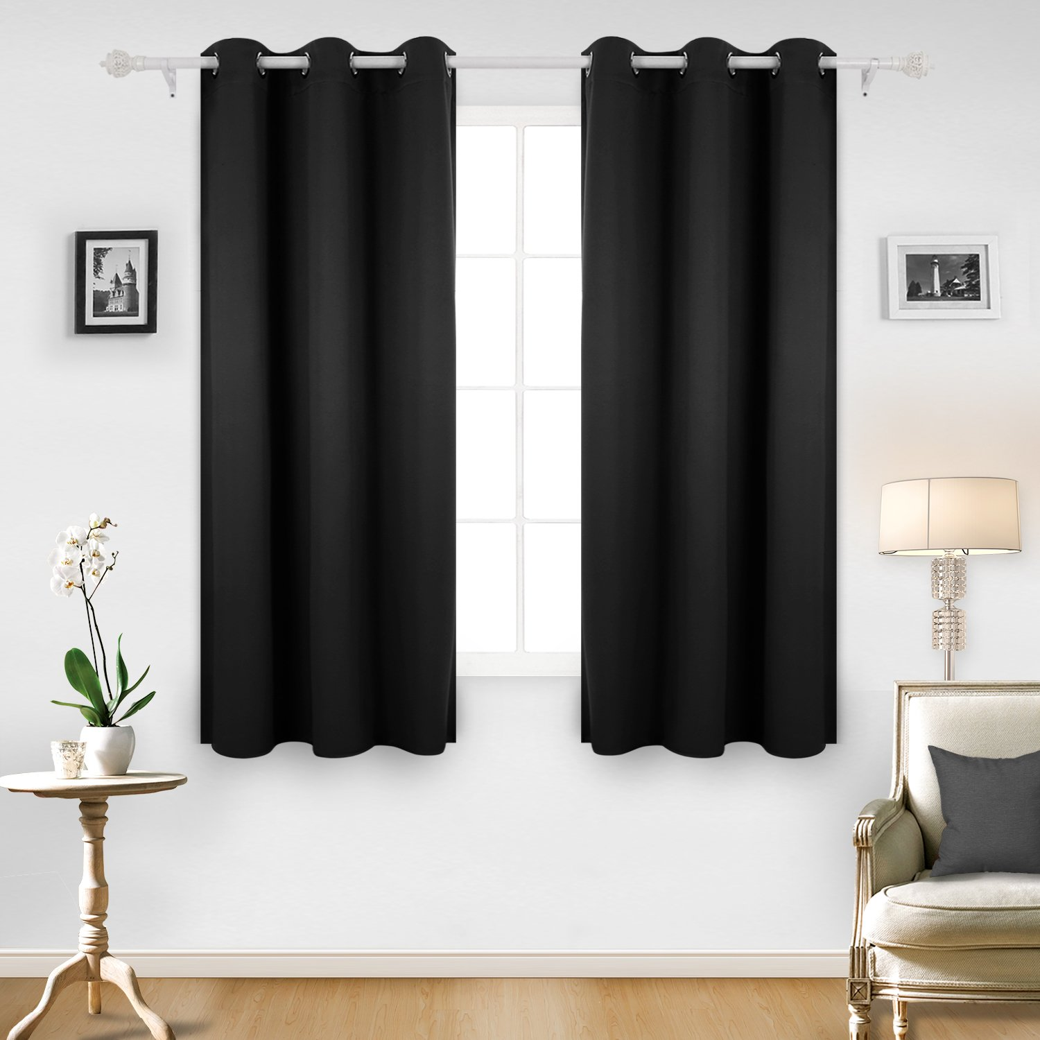 Deconovo Room Darkening Thermal Insulated Blackout Grommet Window Curtain for Living Room, Black