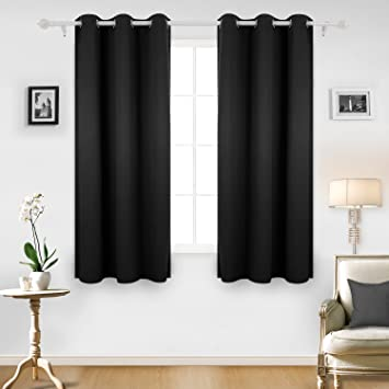 Deconovo Room Darkening Thermal Insulated Blackout Grommet Window Curtain  For Living Room, Black,42x63 Part 38