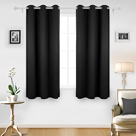 Deconovo Room Darkening Thermal Insulated Blackout Grommet Window Curtain  For Living Room, Black,42x63