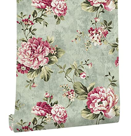 Haokhome Dr3074 Non Woven Vintage Flower Wallpaper Blue Home Bedroom Wallpaper 20 8 X 393 7