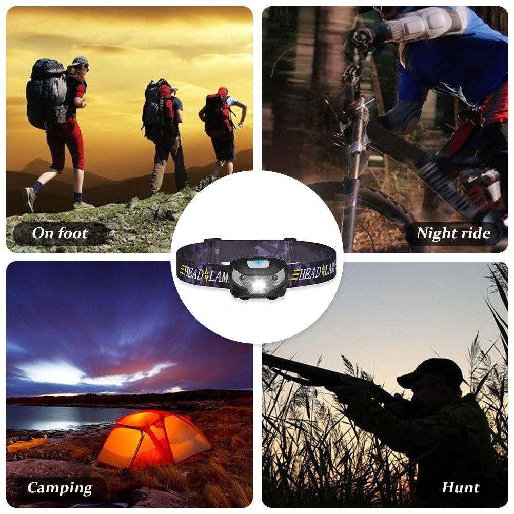 Auplew Linterna Frontal a Prueba de Agua Mini Sensor Recargable L/ámpara de Cabeza Luz roja de Advertencia para Trabajar Camping Correr Caminar y Leer