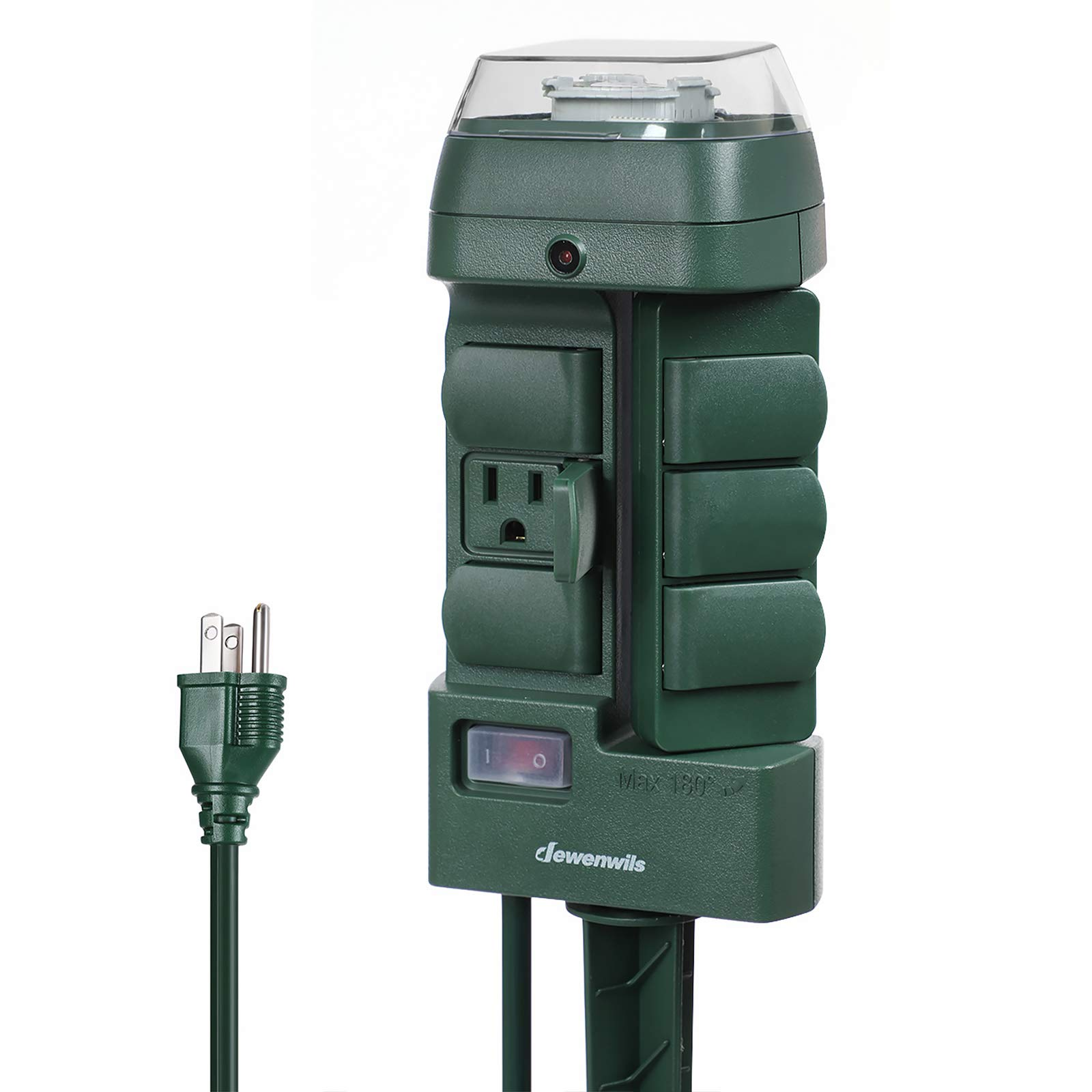 DEWENWILS Outdoor Power Strip Stake Timer, Weatherproof Outlet Plug Timer with 6 Grounded (3 180 Degree Rotating Outlets) 6 ft Extension Cord for Yard Electrical Outlets, 13A UL Listed by DEWENWILS
