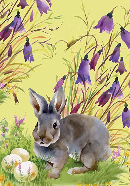 morigins – conejo de Pascua huevos doble cara primavera flores jardín bandera 12, 5