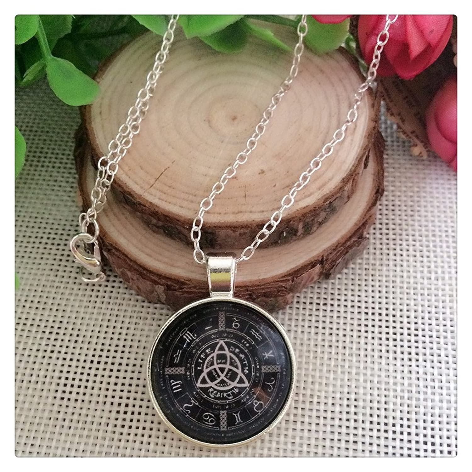 Pagan Wheel of the Year Silver Tone Photo Glass Dome Necklace Pendant Gift glass necklace charms pendant