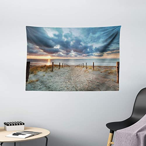 Ambesonne Beach Tapestry, Seaside Walking North Holland Netherland Sundown Romantic Sunlight Sunbeams, Wall Hanging for Bedroom Living Room Dorm, 60 X 40 Inches, Bluegrey Beige Brown