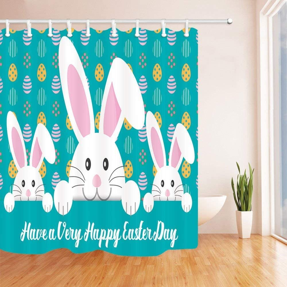 """71/"""" Happy Easter Colorful Eggs Waterproof Fabric Shower Curtain Set Liner Hooks"""