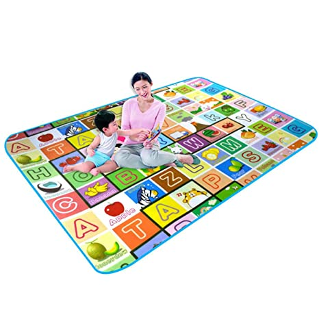 Luvina Baby Care Play Mat Foam Floor Gym - Non-Toxic Non-Slip Reversible Waterproof,Large(120*180cm)Multi Design