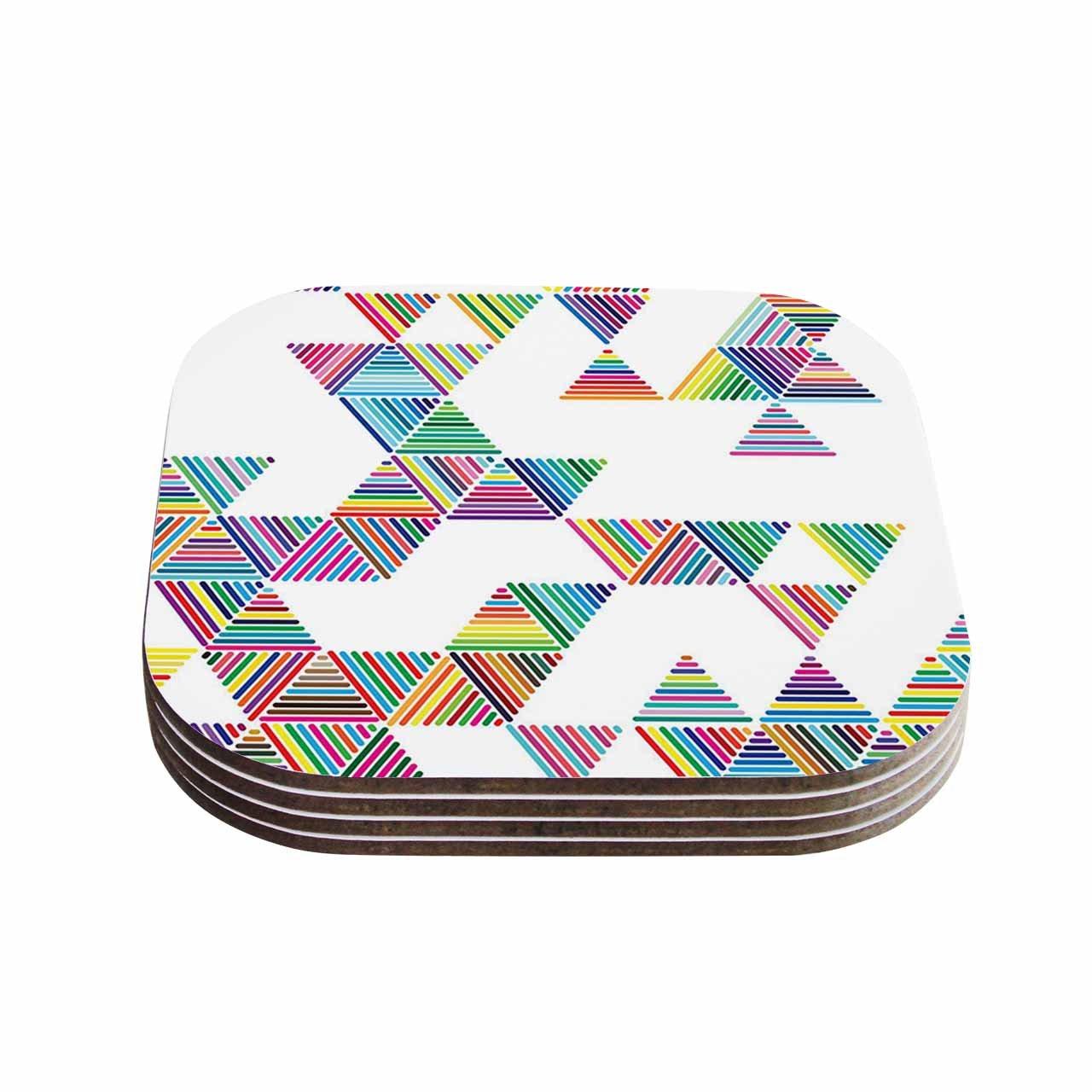 Multicolor Set of 4 KESS InHouse FimbisRainbow Rain White Coasters 4 x 4