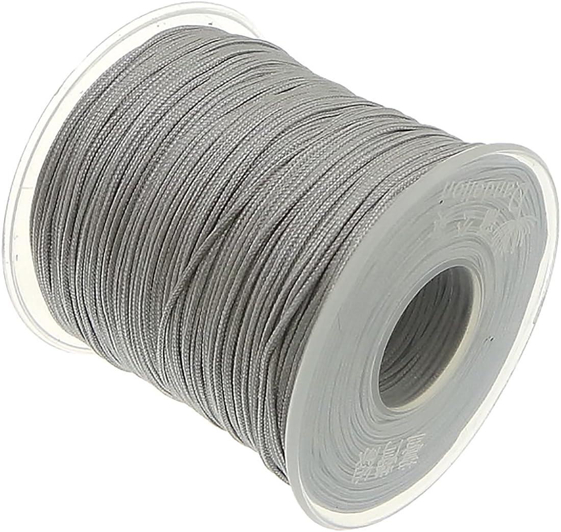 My-Bead Cinta de Nailon Cordón trenzado plata gris diámetro Ø 1 mm rollo con 90 m Cuerda de Nailon DIY