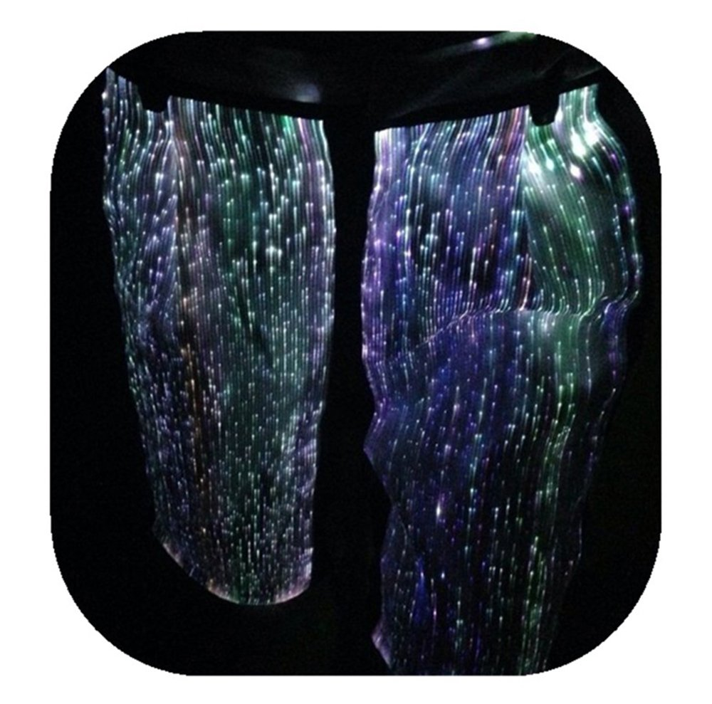 Fiber Optic Festival Shorts LED RGB Light up Hip-Hop Pants Glow in The Dark Pants for Party Club (M, White) by Fiber Optic Fabric Clothing