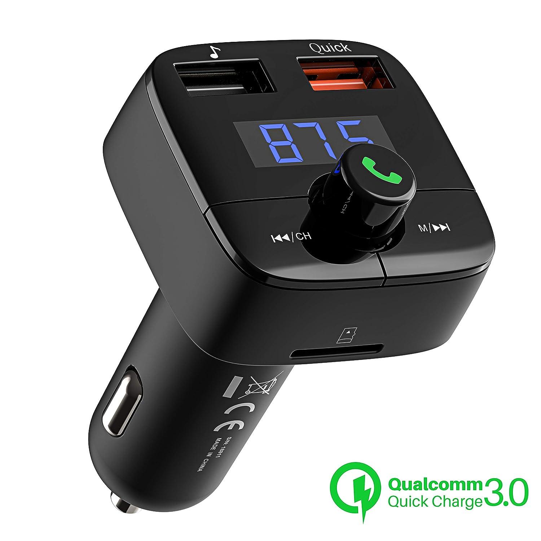 VicTsing [Quick Charge 3.0] Trasmettitore FM Bluetooth 4.2, Trasmettitore Bluetooth per Auto, Ricarica QC 3.0, Doppia Uscita USB, Radio Adattatori Car Kit Vivavoce, Supporta TF/USB Flash Drive 32GB