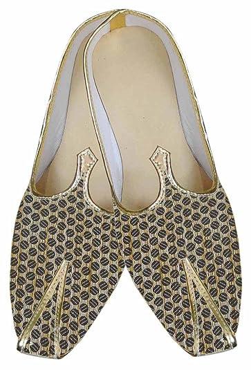Mens Beige Brocade Wedding Shoes Circle Design MJ0026