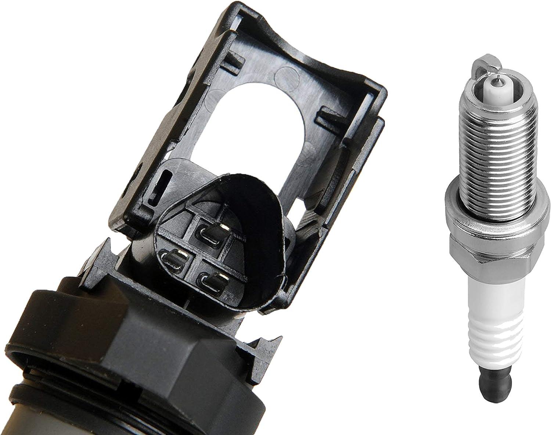 ENA Ignition Coil and Platinum Spark Plug Set of 8 Compatible with BMW X5 X6 550i 650i 750i 4.4L V8 12138647689 12120037580 0221504470 ZR5TPP33 UF592