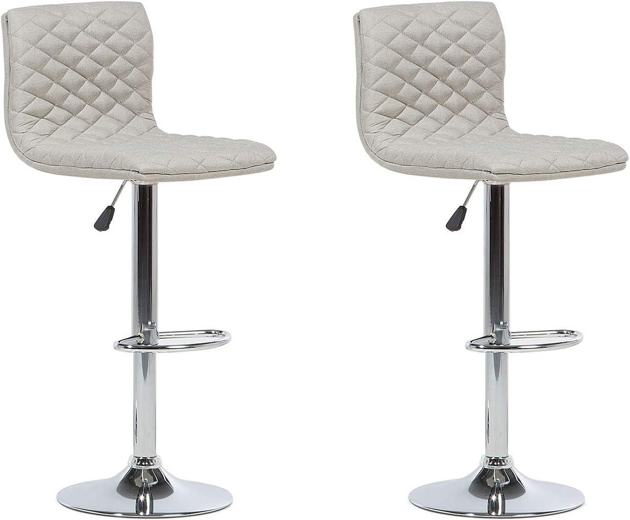 Modern Contemporary Set Of 2 Bar Stools 360 Swivel Adjustable Height Beige Orlando Beliani Amazon Co Uk Kitchen Home