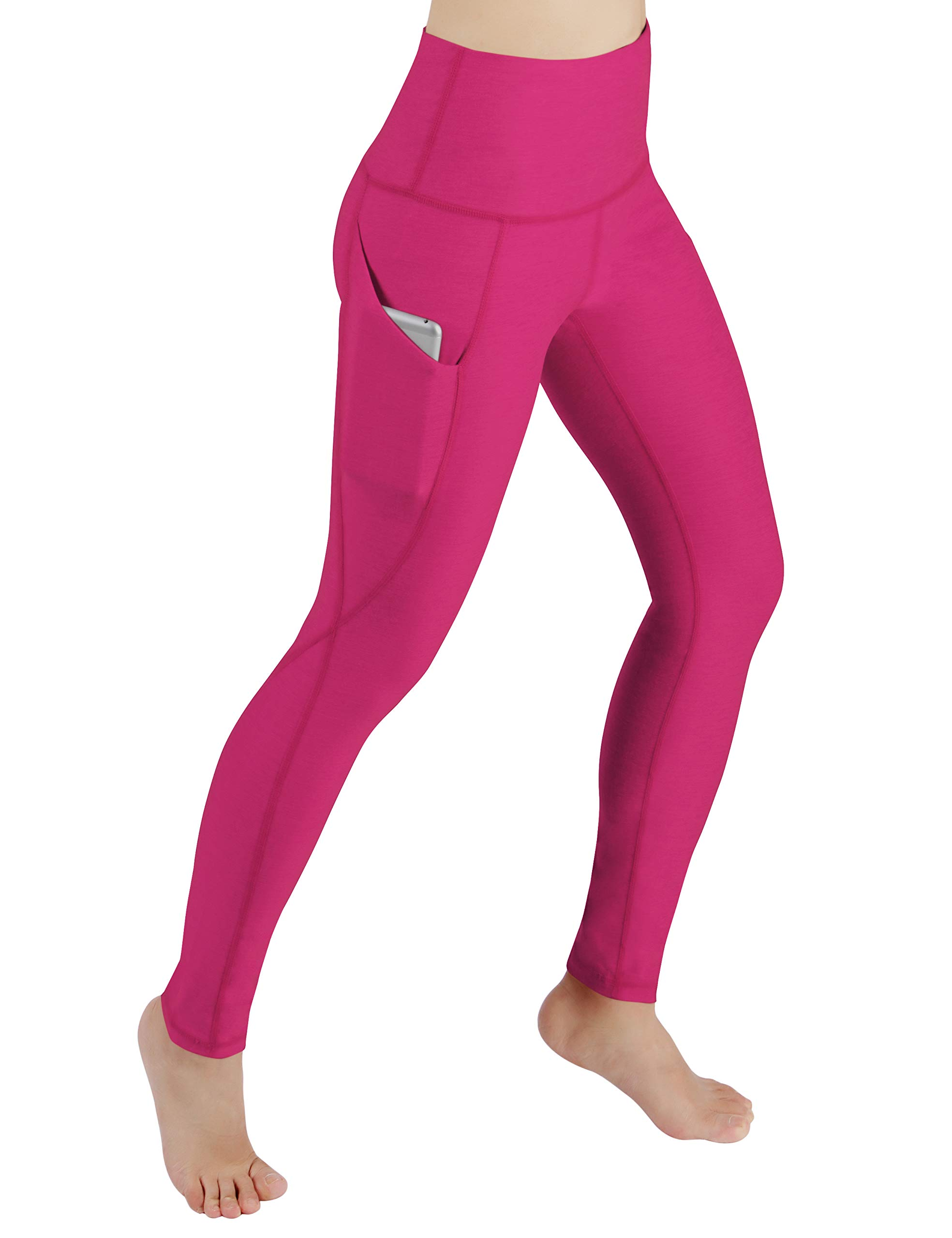 ODODOS Women's High Waist Yoga Pants with Pockets,Tummy Control,Workout Pants Running 4 Way Stretch Yoga Leggings with Pockets,Fuchsia,Large by ODODOS