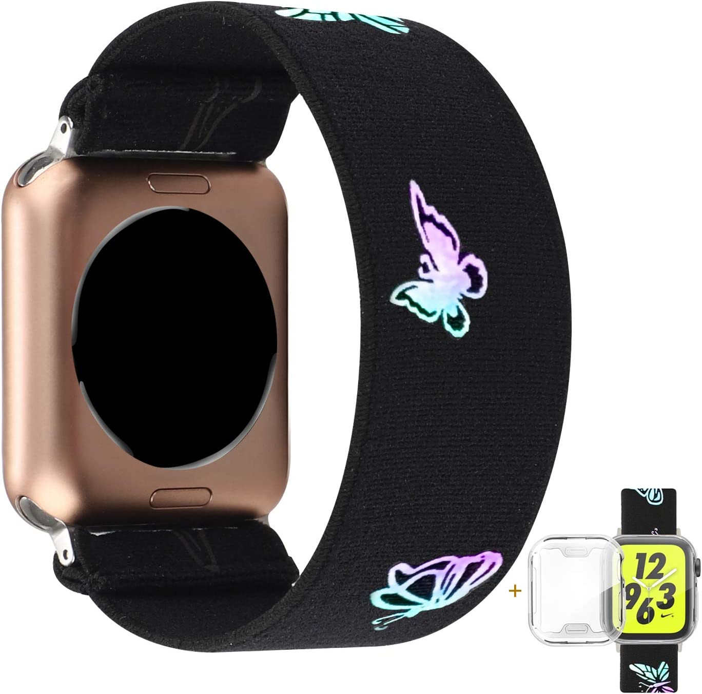 YOSWAN Compatible with Apple Watch Band 38mm 40mm Elastic Soft Nylon Solo Loop Starp Scrunchy Wristband, Women Men Cute Comfy Athletic Stretchy Bracelet Replacement Loop for iWatch SE Series 6 5 4 3 2 1 (Black Butterfly, 38mm/40mm L Size)