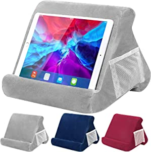 UJUJIA Tablet Stand Pillow for iPad, Multi-Angle Soft Pillow Lap Stand Holder for Tablets, eReaders, Smartphones, Books, Magazines (Grey)