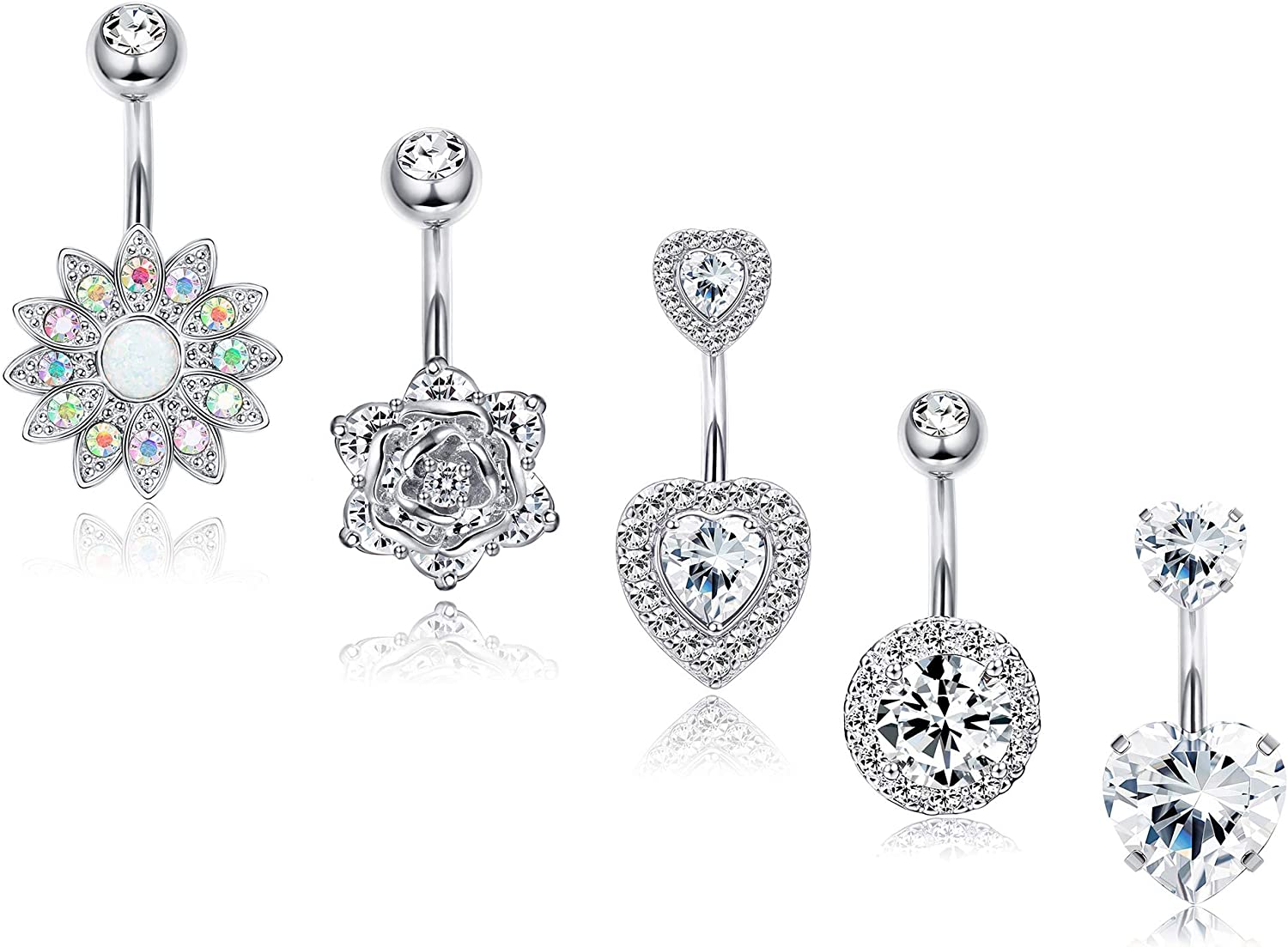 Lt Pink /& Clear cz Flower top Heart bottom Belly button navel Ring piercing bar body jewelry 14g