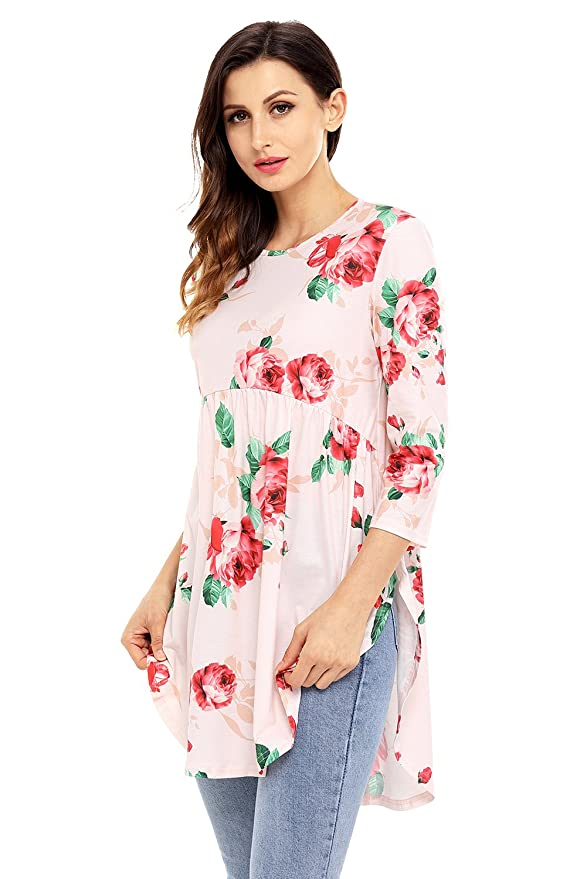 b900ae99c624f9 AlvaQ Women 3 4 Ruffle Detailed Sleeve Floral Blouses (S-XXL