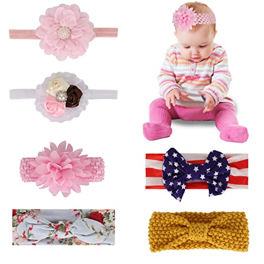 eb987031513 Baby Headband Bow Hairbands Hair Accessories - 6 Pack Variety Styles Nylon  Chiffon Hair Bands for