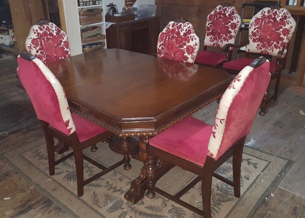Vintage MOUNT AIRY Dinning Table Set w 6 Floral Chairs & Roll Away Leaf PRETTY