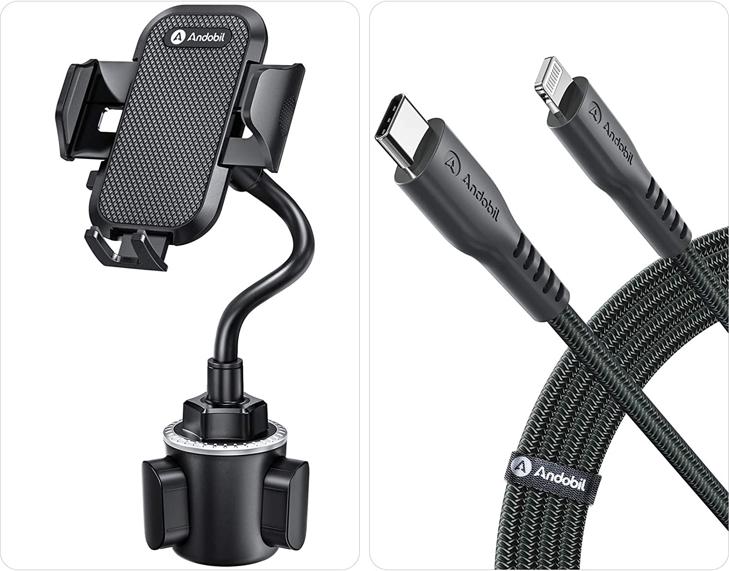 Andobil Cup Holder Phone Mount Ultimate Easy Clamp Hands-Free Cup Phone Holder for Car + Andobil USB C to Lightning Cable 6FT, Apple MFi Certified iPhone Fast Charger Cable