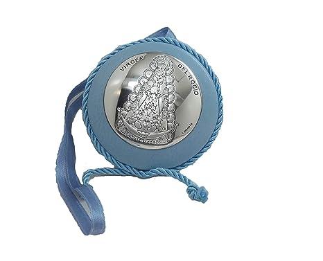 MEDALLA de CUNA de Plata de Ley DE LA VIRGEN DEL ROCIO, Azul.-