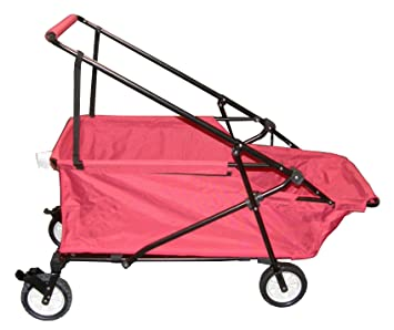 Impact Canopy Momentum Folding Wagon Utility Beach Cart Collapsible Wagon  (Red)