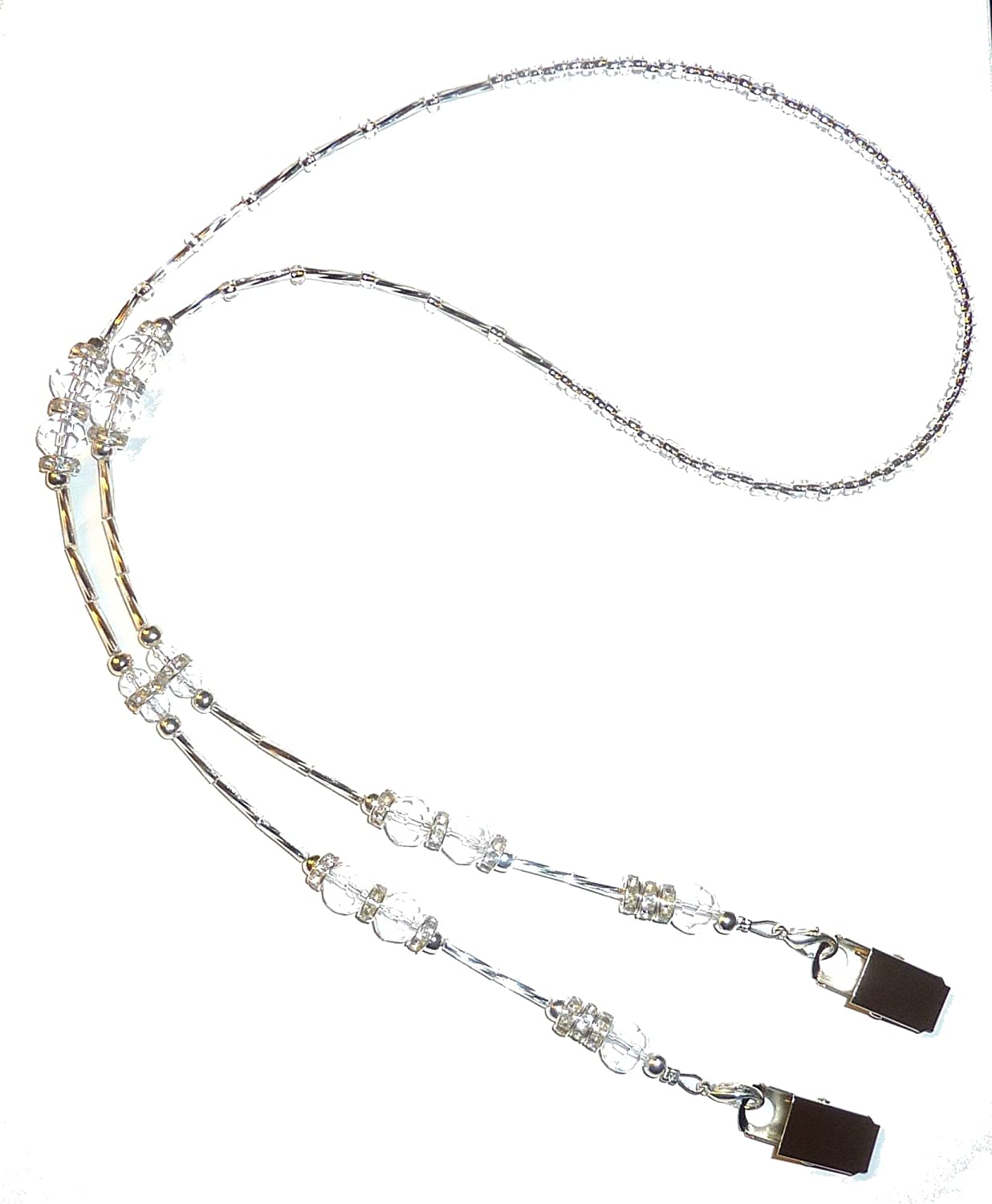 "Crystal Style Fashion Women's Beaded Lanyard 34"", Breakaway and Non Breakaway Available, for Keys, Badge Holder (Bulldog Clips - Crystal)"