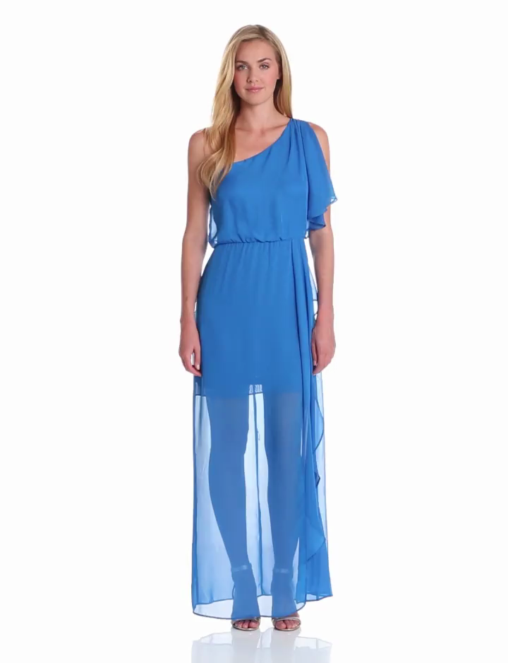 Hailey by Adrianna Papell Womens Dresses Womens Ruffle One Shoulder Dress, Bright Blue, 2