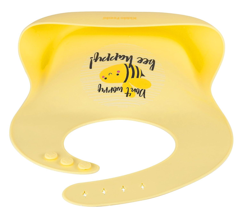 Gelb KIDDO FEEDO wasserdichtes verstell- und faltbar abwaschbares Silikon Babyl/ätzchen mit Roll Up und tiefer Auffangtasche verschiedene Designs zur Auswahl