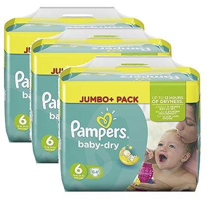Tamaño Pampers Baby Dry 6 Extra Grande más de 15 kg Jumbo Plus Pack, 3