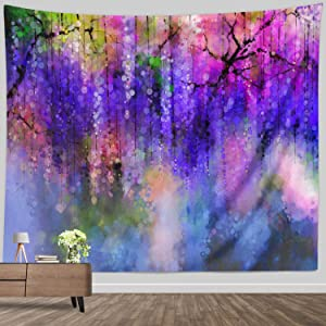 BROSHAN Watercolor Flower Tapestry, Colorful Vine Floral Tapestry Wall Hanging Fabric Home Decor for Bedroom Living Room Wall Art Blanket, 60 x 80 Inch