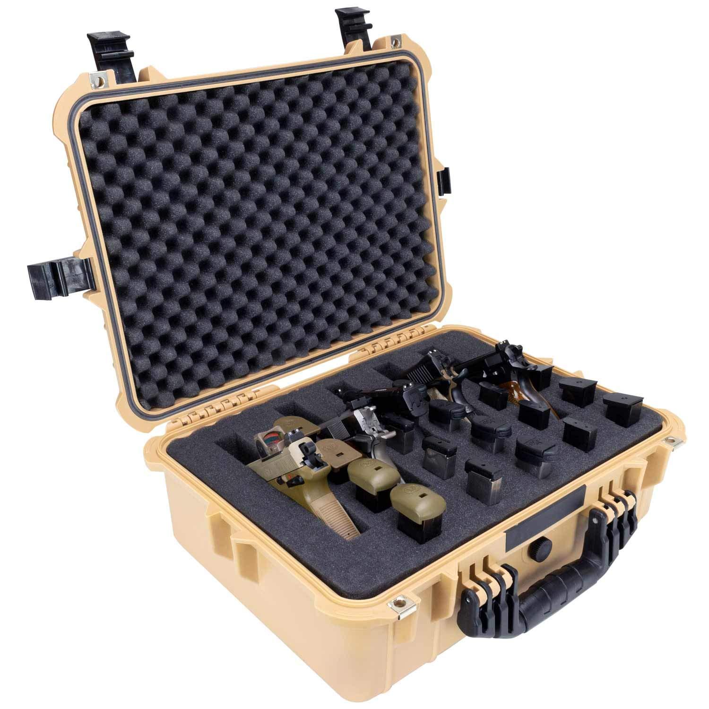 Elkton Outdoors Hard 5 Gun Case, Fully Customizable Hand-Gun Pistol Case, Holds 5 Handguns and 10 Magazines, Crush Resistant and Waterproof, Tan