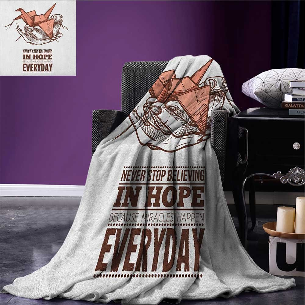 Hope park blanket Hands Holding an Origami Crane with a Miracles Happen Everyday Quote soft blanket Pale Orange Brown White size:59''x35.5''