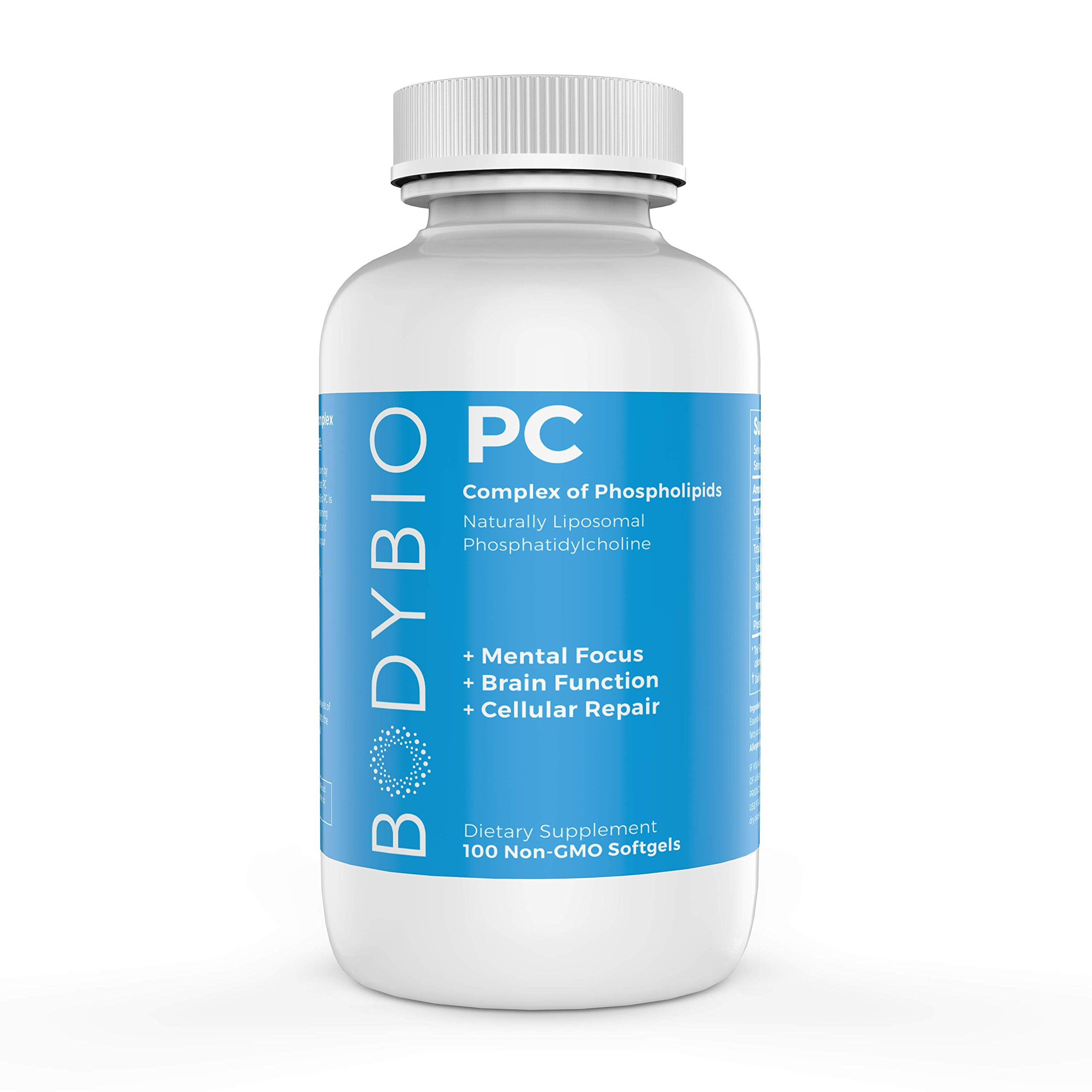 BodyBio - PC Phosphatidylcholine, Liposomal Phospholipid Complex for Cell Health - Enhance Brain Function, Focus, Memory & Clarity - Microbiome Support - Science & Research Backed - 100 Softgels by BodyBio