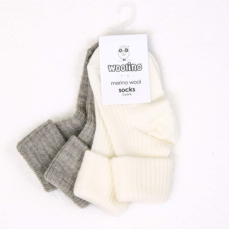 Newborn to 4 Years Wool Baby Socks from Woolino Washable Merino Wool Infant Toddler Kids Socks Pack of 2